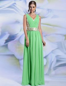 2015 Empire V Neck Sleeveless Pleated Long Evening Dress