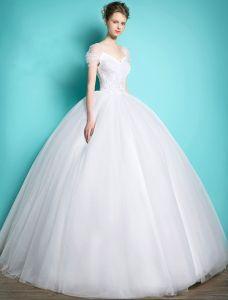 Robes De Mariée Princesse 2016 Robe De Bal Mancherons V-cou Volants De Tulle Robe Dos Nu Mariée