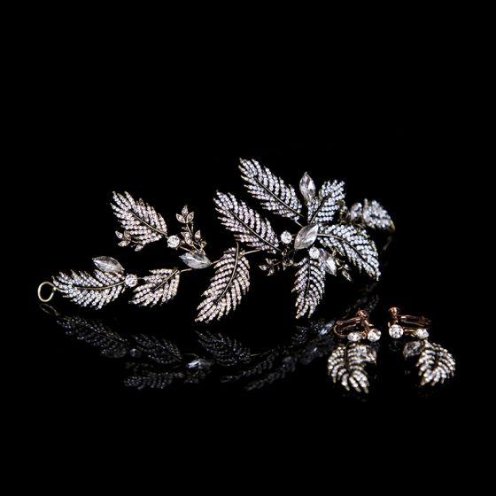 Elegant Bronze Hårpynt 2020 Metal Rhinestone Hårpynt Bryllups Accessories