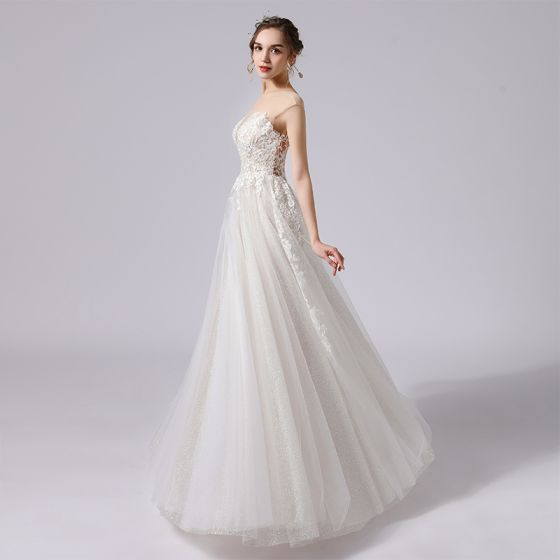Modest / Simple Champagne Lace Flower Wedding Dresses 2021 A-Line / Princess Scoop Neck Sleeveless Backless Floor-Length / Long Wedding