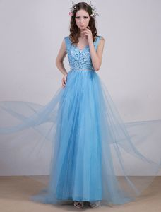 2016 Elegant V-neck Backless Lace Flowers Sky Blue Tulle Evening Dress With Sequins Sash
