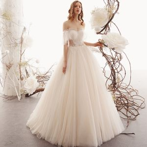 Best Champagne See-through Outdoor / Garden Wedding Dresses 2019 A-Line / Princess Sweetheart Short Sleeve Backless Beading Floor-Length / Long Ruffle