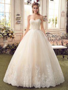 Einfache Champagner Brautkleider 2017 Schatz Kleider Spitze Der Kugel