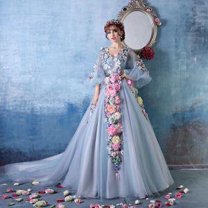Fleur Colorée Fée D'une Ligne-v-cou Épaules Fleurs À La Main Robe De Bal En Organza / Robe De Soirée