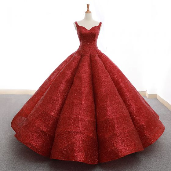 Sparkly Red Sequins Dancing Prom Dresses 2020 Ball Gown Shoulders Sleeveless Floor-Length / Long Ruffle Backless Formal Dresses