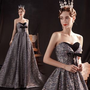 Moda Granatowe Taniec Sukienki Na Bal 2020 Suknia Balowa Kochanie Bez Rękawów Kokarda Aplikacje Z Koronki Cekiny Trenem Sweep Wzburzyć Bez Pleców Sukienki Wizytowe