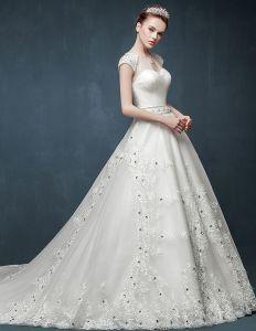 2015 Luxus Fischschwanz Dünnen Dünnen Doppelten Schulter V-ausschnitt Langen Schwanz Brautkleider