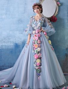 2015 Colorful Flower Fairy A-line Shoulders V-neck Handmade Flowers Organza Prom Dress / Evening Dress