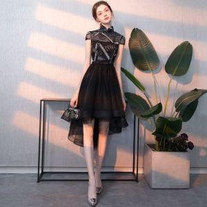Stilig Lavendel Aftonklänningar 2019 Prinsessa V-Hals Beading Paljetter Spets Blomma Korta ärm Halterneck Långa Formella Klänningar