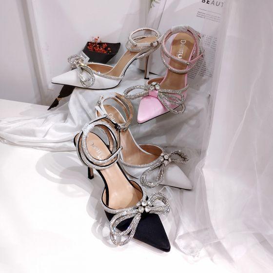 Charmant Noire Soirée Faux Diamant Noeud Sandales Femme 2020 Bride Cheville 9 cm Talons Aiguilles À Bout Pointu Sandales