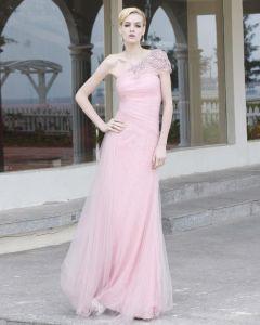 Charmeuse Mesh Spitzen Perlen Diamant Rüschen Schrägbodenlange Abendkleid