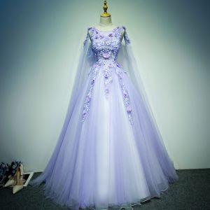 Hermoso Vestidos de gala 2017 Con Encaje Apliques Rhinestone Perla Sin Mangas Scoop Escote Sin Espalda Cathedral Train Lila Ball Gown
