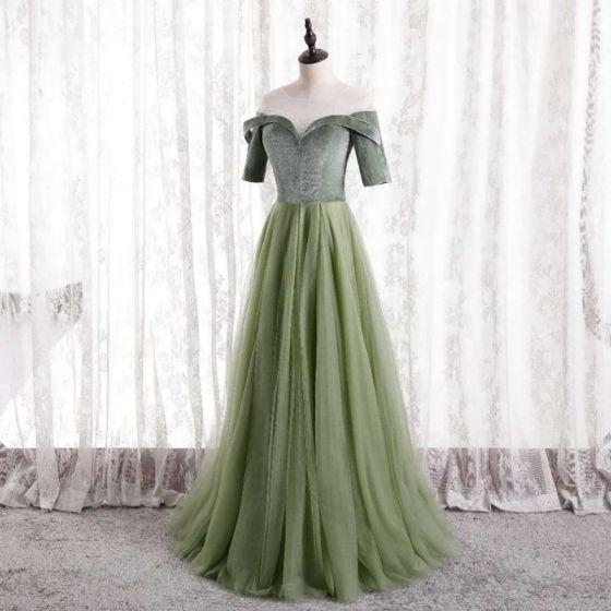 Glamour Vert Cendré Robe De Bal 2021 Princesse Encolure Dégagée Daim 1/2 Manches Dos Nu Longue Robe De Ceremonie