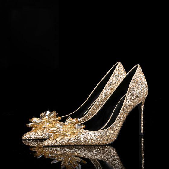 Único Cenicienta Champán Zapatos de novia Noche Cuero Rebordear Glitter Lentejuelas 10 cm High Heels Punta Estrecha Zapatos De Mujer 2019