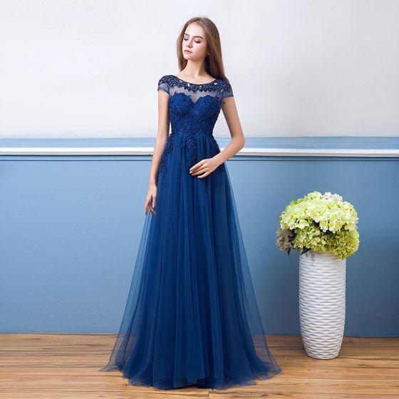 Schöne Königliches Blau Abendkleider 2018 A Linie Mit ...