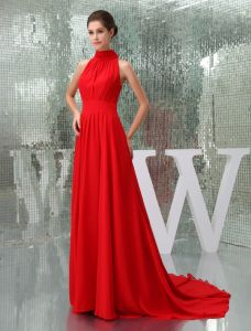 2015 Gorgeous A-line High Neck Sleeveless Chapel Train Red Evening Dress