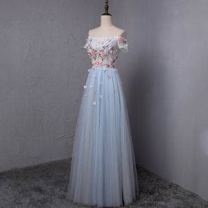 Chic / Beautiful Sky Blue Prom Dresses 2018 A-Line / Princess Appliques Crystal Pleated Off-The-Shoulder Backless Short Sleeve Floor-Length / Long Formal Dresses