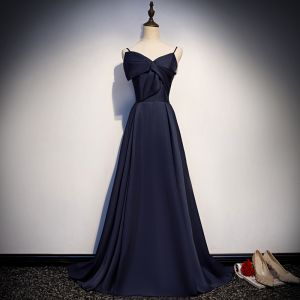 Modest / Simple Navy Blue Satin Evening Dresses  2019 A-Line / Princess Spaghetti Straps Sleeveless Court Train Ruffle Backless Formal Dresses
