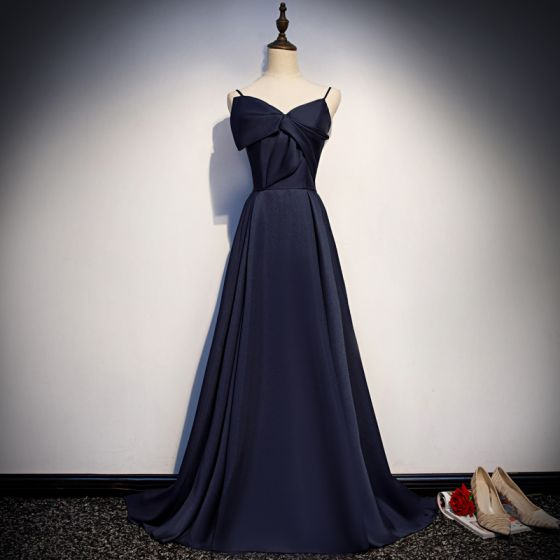 Modest / Simple Navy Blue Satin Evening Dresses  2019 A-Line / Princess Spaghetti Straps Sleeveless Court Train Ruffle Backless Formal Dresses