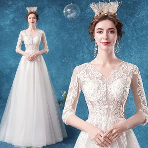 Affordable Illusion Ivory Wedding Dresses 2020 A-Line / Princess V-Neck Lace Flower 1/2 Sleeves Floor-Length / Long