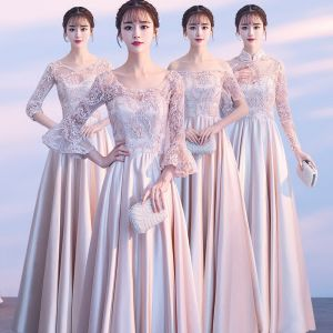 Affordable Champagne Pierced Bridesmaid Dresses 2018 A-Line / Princess Appliques Lace Floor-Length / Long Ruffle Backless Wedding Party Dresses