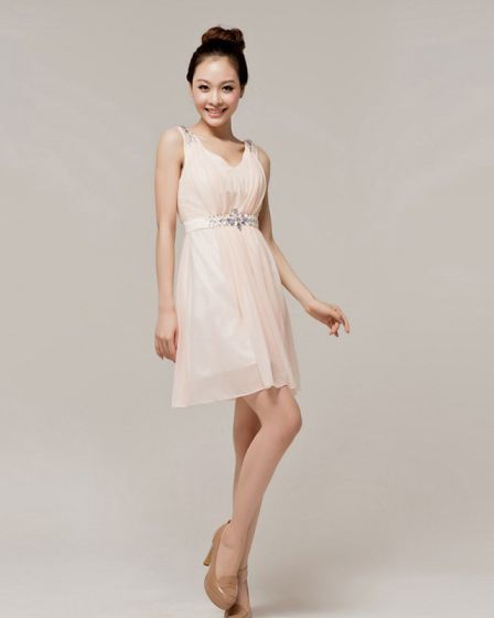 Chiffon Beading Ruffle V Neck Mini Bridesmaid Dress