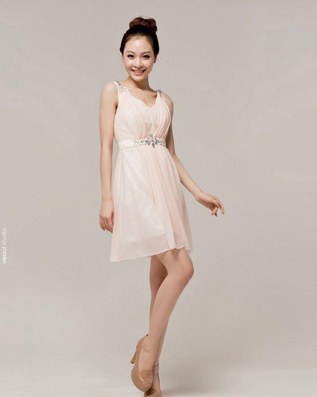Chiffon Beading Ruffle V Neck Mini Bridesmaid Dress