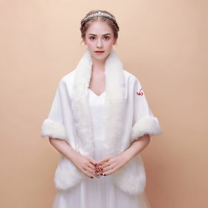 White Winter Butterfly Embroidered Faux Fur Evening Party Prom Wedding Shawls 2017