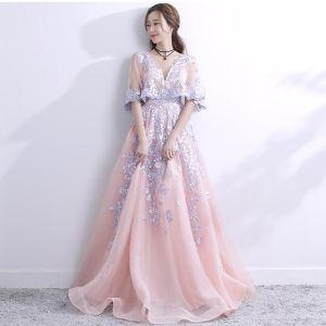 Chic / Belle 2017 Rougissant Rose Robe De Soirée Princesse Dentelle V-Cou Appliques Dos Nu de retour Robe De Fete