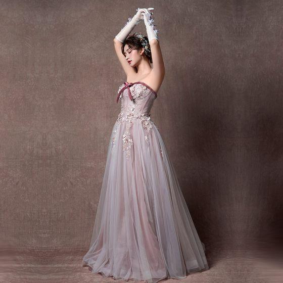 Elegant Lavender Prom Dresses 2019 A-Line / Princess Sweetheart Sleeveless Appliques Lace Floor-Length / Long Ruffle Backless Formal Dresses