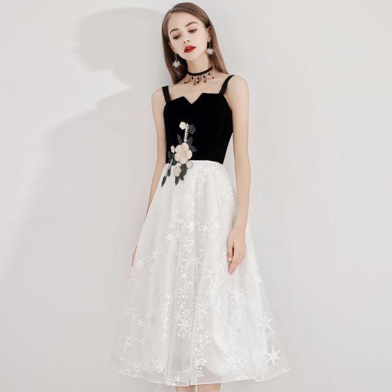 Fashion Ivory Homecoming Graduation Dresses 2020 A-Line / Princess Star Lace Spaghetti Straps Sleeveless Backless Lace Flower Tea-length Formal Dresses