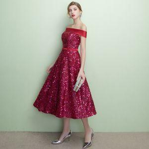Błyszczące Burgund Strona Sukienka 2018 Princessa Cekiny Kokarda Przy Ramieniu Bez Pleców Bez Rękawów Długość do kolan Sukienki Wizytowe