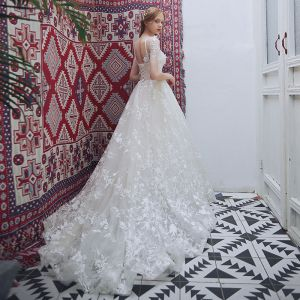 Chic / Beautiful Champagne Beach Pierced Wedding Dresses 2018 A-Line / Princess Scoop Neck Short Sleeve Backless Appliques Lace Ruffle Court Train