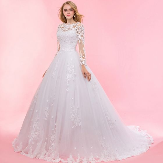 Chic / Beautiful Ivory Chapel Train 2018 Wedding Long Sleeve Lace-up U-Neck Tulle Appliques Backless Pierced Ball Gown Wedding Dresses