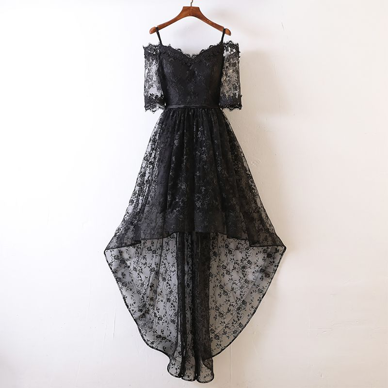 Sexy Black Cocktail Dresses 2017 A-Line / Princess Lace Flower Backless Spaghetti Straps Off-The-Shoulder Bow 1/2 Sleeves Asymmetrical Cocktail Party