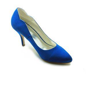 Eenvoudige Blauwe Pumps 3 Inch Naaldhak Satijnen Bruidsschoenen