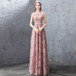 Chic / Beautiful Pearl Pink Evening Dresses  2019 A-Line / Princess Lace Beading Rhinestone Sequins Scoop Neck Sleeveless Floor-Length / Long Formal Dresses