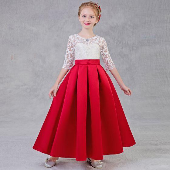 Piękne Czerwone Sukienki Dla Dziewczynek 2018 Princessa Wycięciem 1/2 Rękawy Rhinestone Aplikacje Z Koronki Przebili Długie Wzburzyć Sukienki Na Wesele