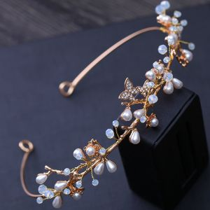 Modest / Simple Gold Wedding Headpieces 2018 Metal Pearl Rhinestone Crystal Accessories