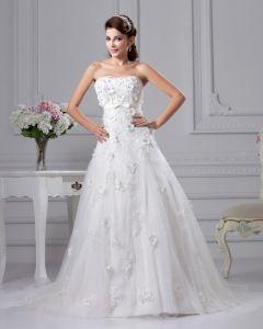 Mode Satin Spitze Schatz Gericht Bridal Ballkleid Brautkleid