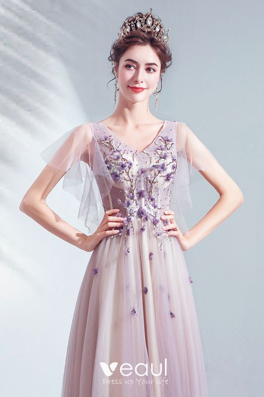 buy cheap info for biggest discount Chic / Beautiful Purple Prom Dresses 2020 A-Line / Princess V-Neck ...