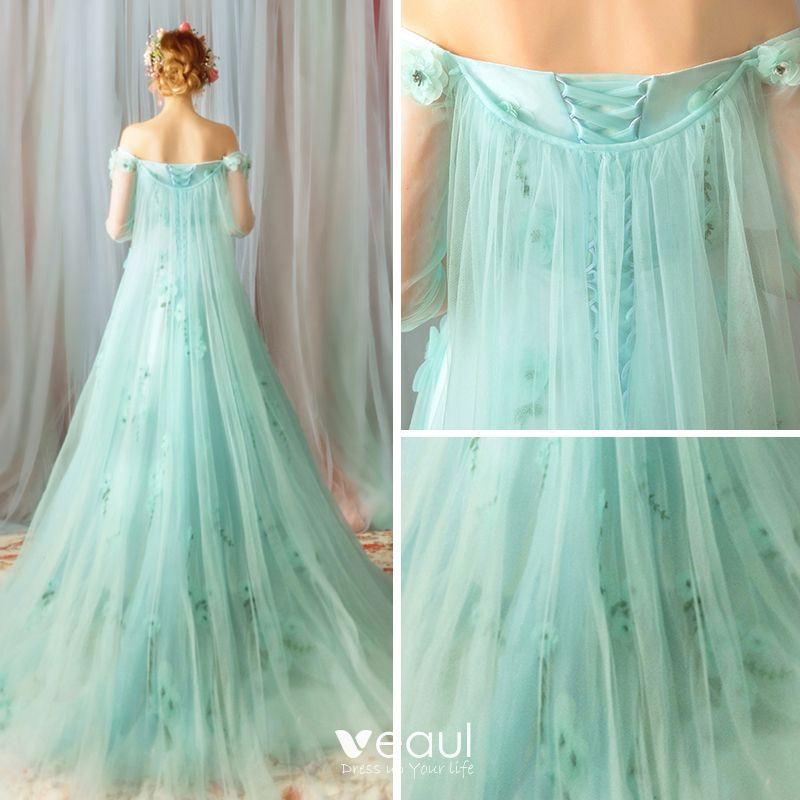 Flower Fairy Green Evening Dresses  2019 A-Line / Princess Off-The-Shoulder 3/4 Sleeve Appliques Flower Beading Sweep Train Ruffle Backless Formal Dresses