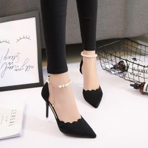 Erschwinglich Schwarz Datierung Sandalen Damen 2020 Knöchelriemen 8 cm Stilettos Spitzschuh Sandaletten