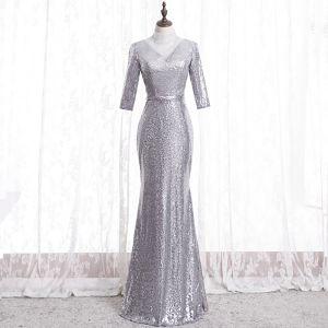 Glittrande Silver Aftonklänningar 2020 Trumpet / Sjöjungfru Hög Hals Rhinestone Paljetter 3/4 ärm Halterneck Långa Formella Klänningar