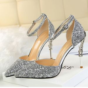 4448d6de7b0d Sparkly Silver High Heels 2018 Cocktail Party Evening Party Prom 9 cm Heels  Pointed Toe Ankle