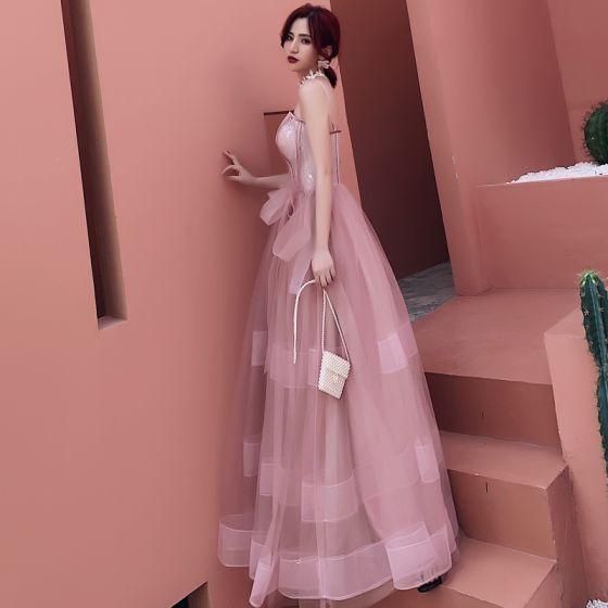 Charmerende Lyserød Selskabskjoler 2019 Prinsesse Spaghetti Straps Med Blonder Blomsten Ærmeløs Halterneck Lange Kjoler