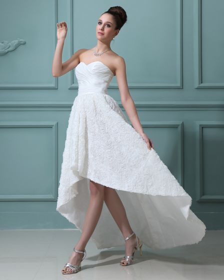 Lace Sweetheart Asymmetrical Mini Wedding Dresses