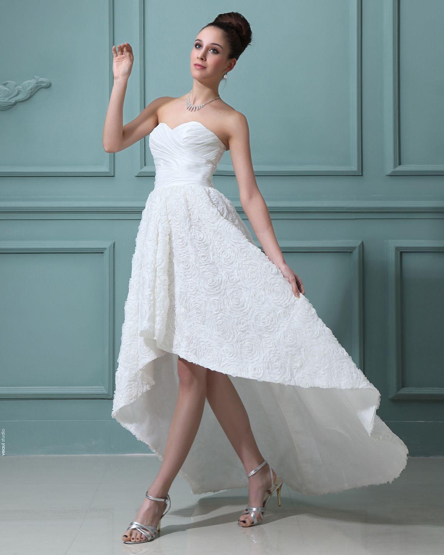 Lace Sweetheart Asymmetrical Mini Wedding Dresses