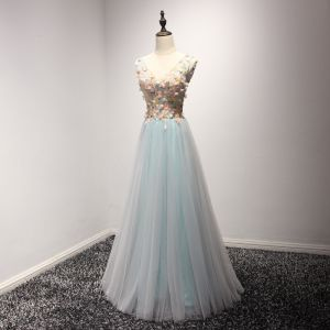 Chic / Beautiful Grey Sky Blue Evening Dresses  2017 A-Line / Princess V-Neck Sleeveless Beading Crystal Appliques Lace Flower Floor-Length / Long Ruffle Backless Formal Dresses