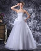 Strapless Floor Length Bowknot Beading Satin Womens Ball Gown Wedding Dress